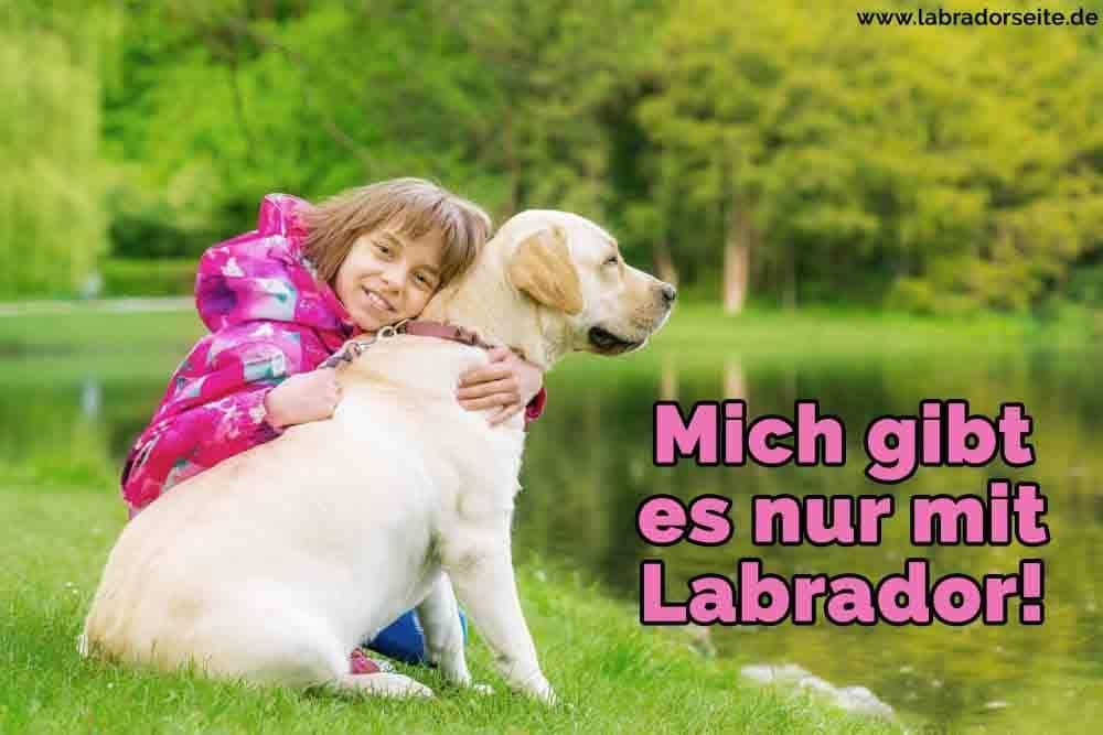 Ein Mädchen umarmt ihren Labrador auf dem See